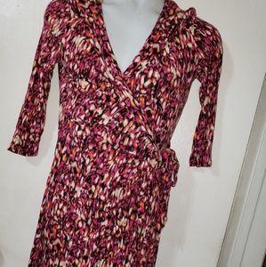 cynthia rowley wrap dress sz med pink